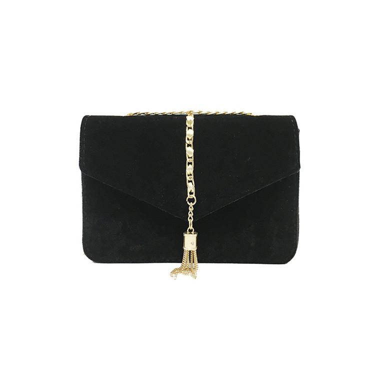Crossbody Tassel Velour Bag Black
