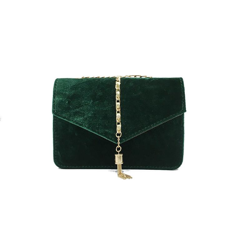 Crossbody Tassel Velour Bag Green