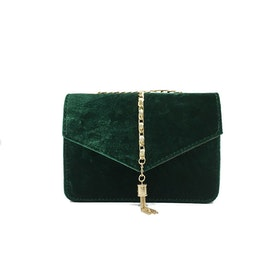 Crossbody Tassel Velour Bag Green