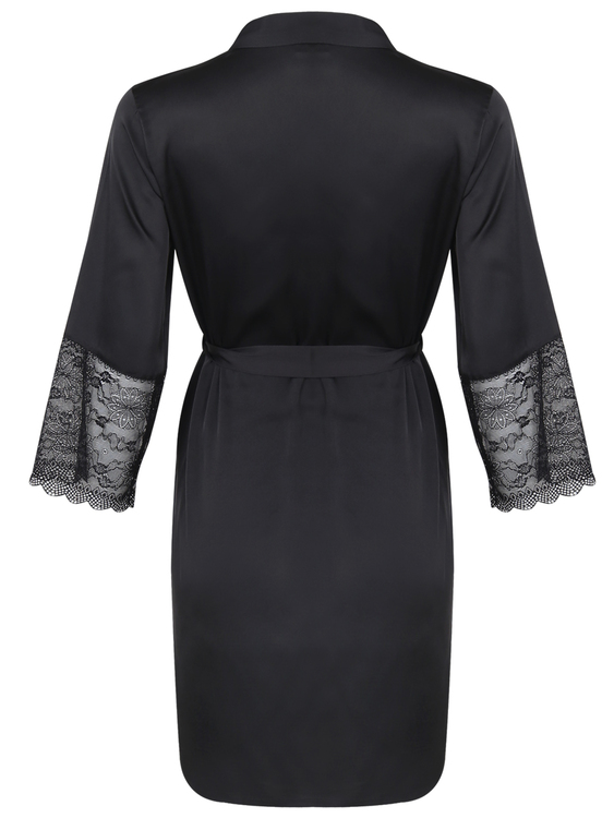 Alia Robe With Lace Black
