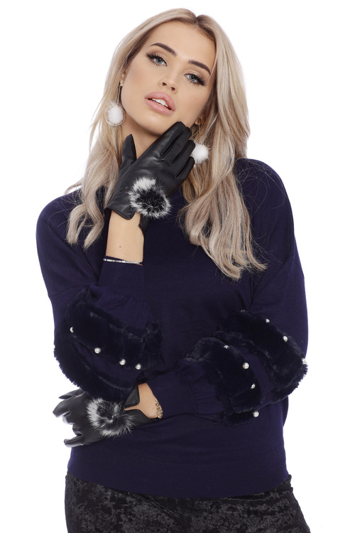 Mary Faux Fur White Pearls Navy