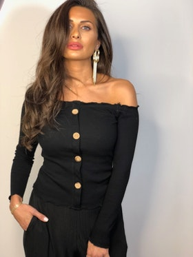 Ramina Top With Buttons Black