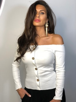 Ramina Top With Buttons White