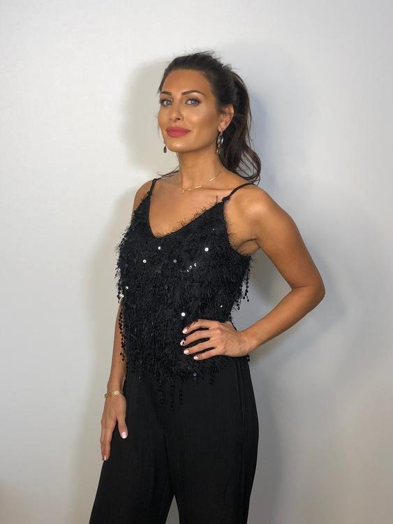 Olyvia Sequin Top Black