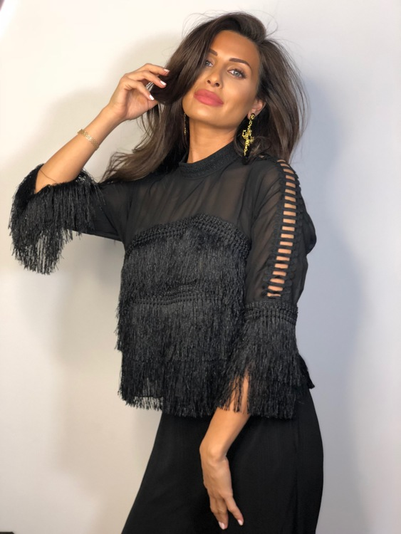 Nayla Fringe Top Black