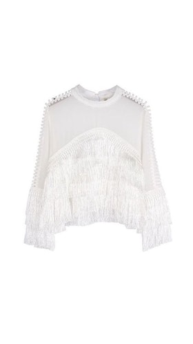 Nayla Fringe Top White