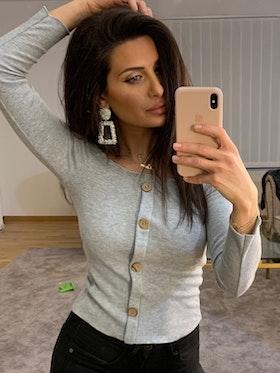 Ramina Top With Buttons Grey