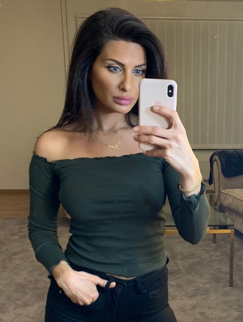 Adrianna Off Shoulder Long Sleeve Top Dark Green