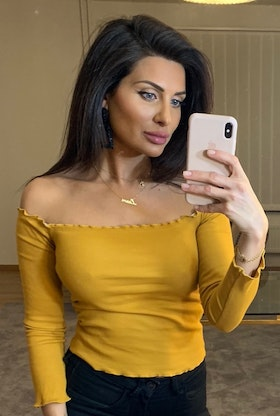 Adrianna Off Shoulder Long Sleeve Top Yellow