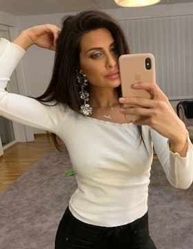 Adrianna Off Shoulder Long Sleeve Top White
