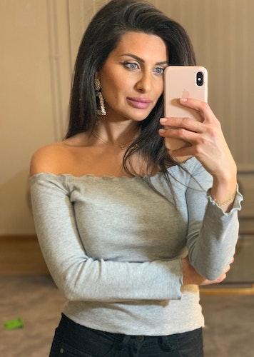 Adrianna Off Shoulder Long Sleeve Top Grey