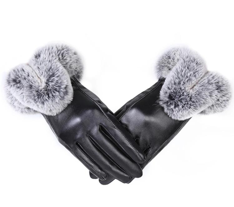 Eyla Faux Fur Gloves Black Touch