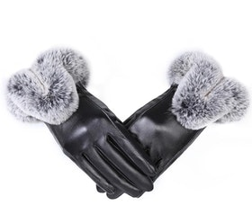 Eyla Faux Fur Gloves Black Touch