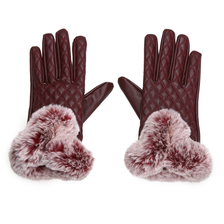 Ella Faux Fur Gloves Red Touch