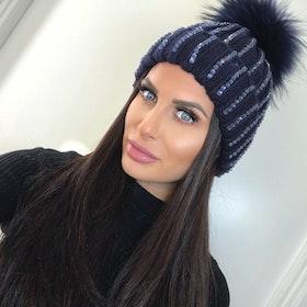 Sparkling Pom Pom (Faux Fur) Hat Ramina Blue