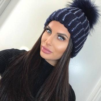 Sparkling Pom Pom (Fur) Hat Ramina Blue