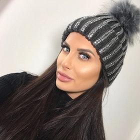 Sparkling Pom Pom (Faux Fur) Hat Ramina Grey