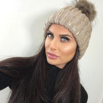 Sparkling Pom Pom (Faux Fur) Hat Ramina Beige
