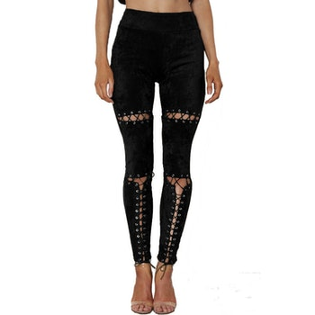Laced Up Leggings Black