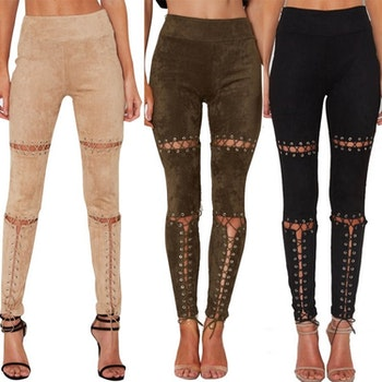 Laced Up Suede Pants Beige