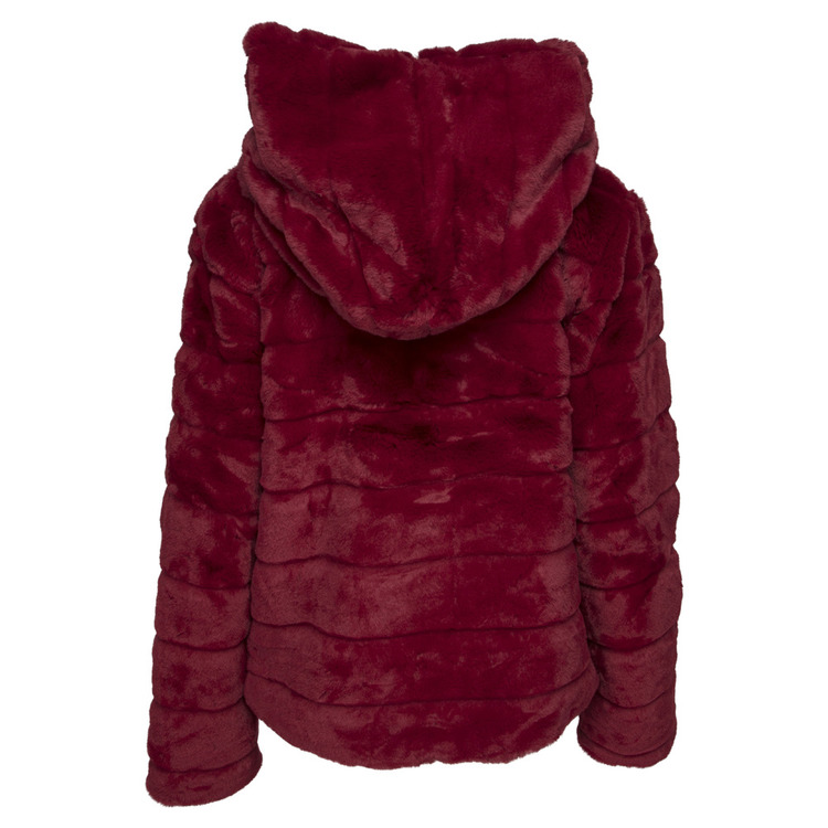 Huda Hooded Faux Fur Jacket Red