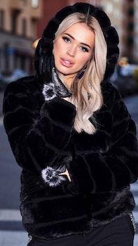 Huda Hooded Faux Fur Jacket Black