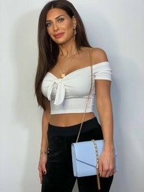 Lexi Crop Top With Tie White