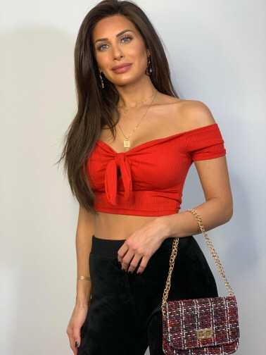 Lexi Crop Top With Tie Red