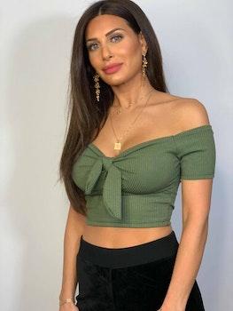 Lexi Crop Top With Tie Green