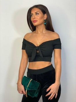 Lexi Crop Top With Tie Black