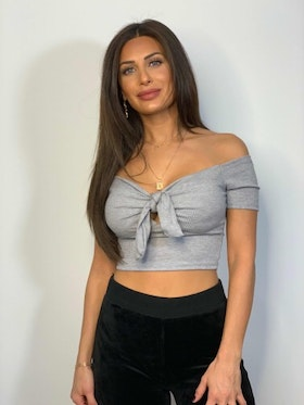 Lexi Crop Top Tie Grey