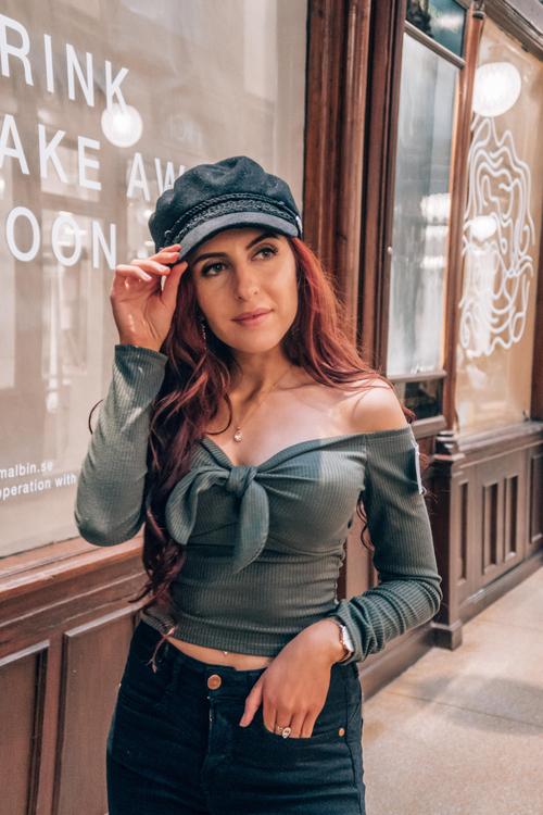 Lexi Long Sleeve Crop Top With Tie Dark Green