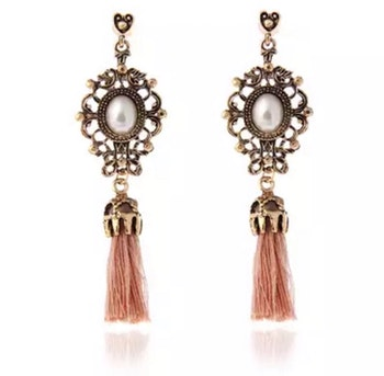 Cecilia Baby Pink Tassel Earrings