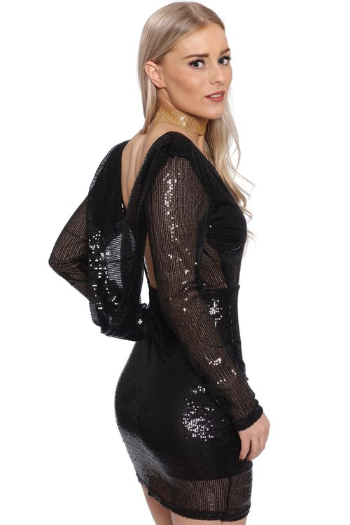 Anna Sequin Dress Black