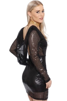 Anna Sequin Dress Black