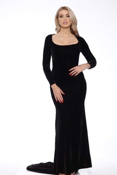 Morticia Blacka Velvet Dress