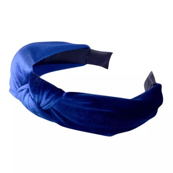 Velvet Hairband With Knot Blue