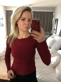 Sanja Off Shoulder Top Bordeaux Long Sleeve