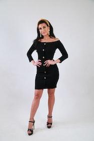 Ramina Dress With Buttons Black