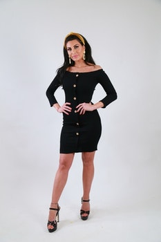 Ramina Dress With Buttons Black