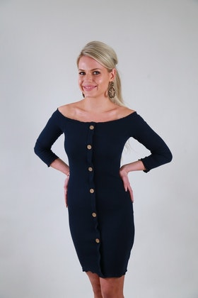 Ramina Dress With Buttons Navy