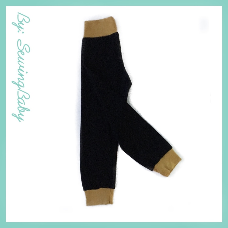 Sewingbaby - Little loose fit leggins -Black/mustard