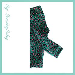 SewingBaby - Leggins - Leo green/pink