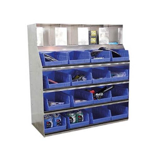 Vägghylla med lådor och fack