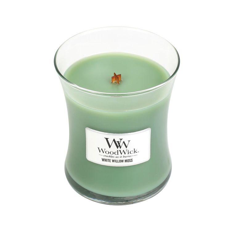 WoodWick White willow moss Medium Doftljus