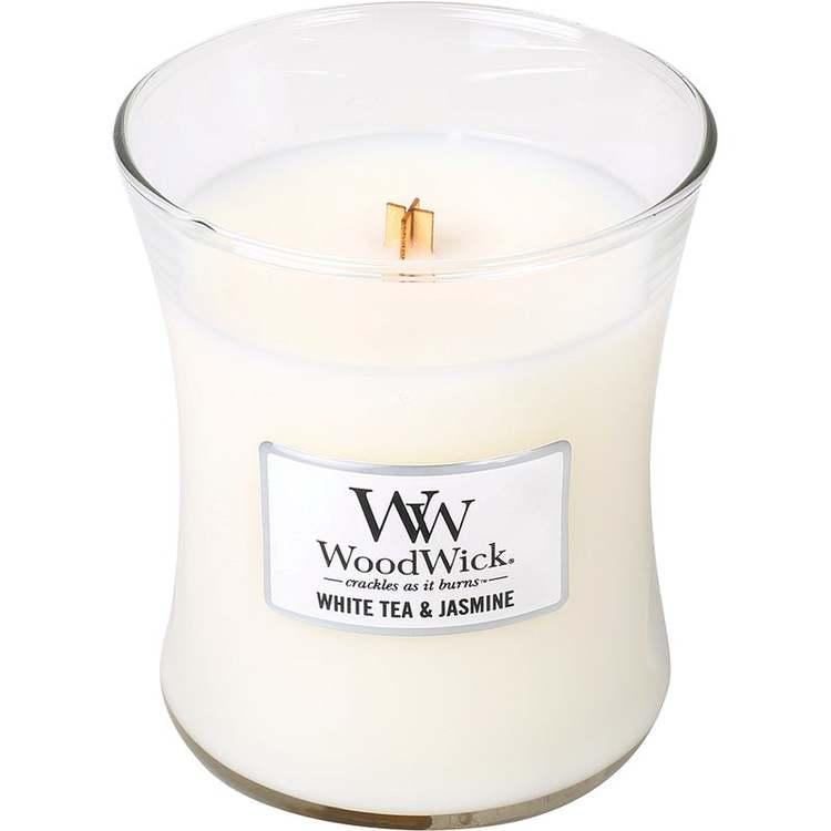WoodWick - White tea & jasmine - Mellanstort Doftljus