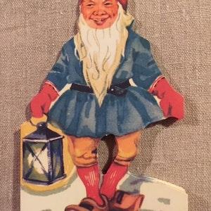 Vintage jultomtar med lykta