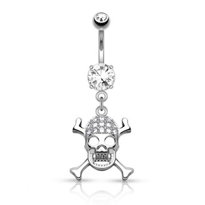Navelpiercing glittrig Jolly Roger