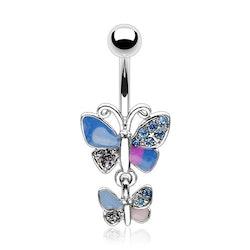 Navelpiercing med dubbla fjärilar
