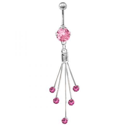 Piercing till navel med rosa CZ. Med titanstav